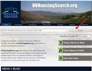 Searchbar Instructions for Nevada Rental Listings